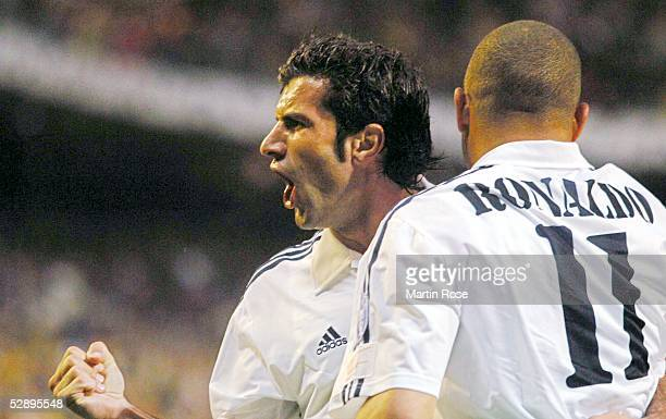 Champions League 02/03, Madrid; Real Madrid - Juventus Turin 2:1; Jubel Luis FIGO, RONALDO/Madrid