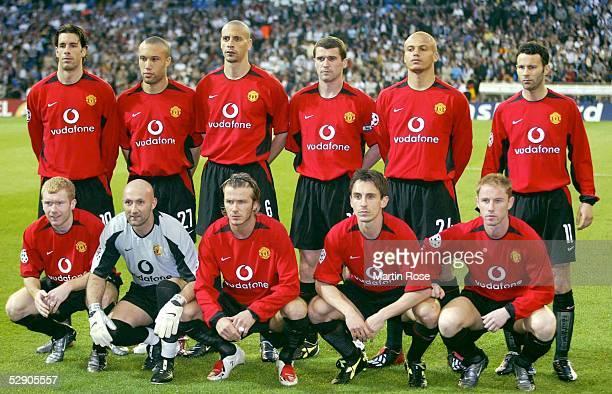 Champions League 02/03 Viertelfinale Madrid Real Madrid Manchester United 31 Team Manchester United/hintere Reihe vlnr Ruud VAN NISTELROOY Mikael...