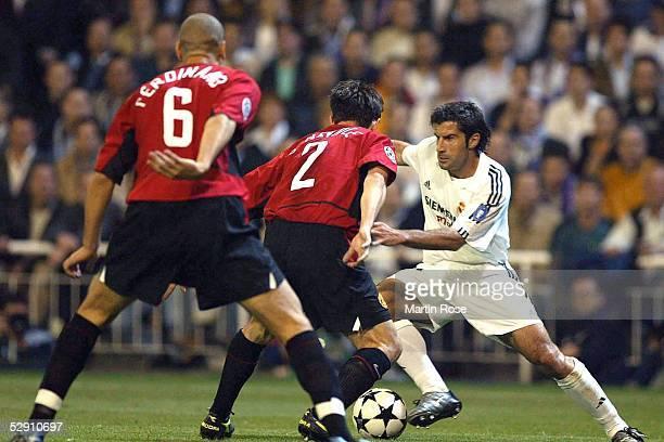Champions League 02/03 Viertelfinale Madrid Real Madrid Manchester United 31 Rio FERDINAND Gary NEVILLE/Manchester Luis FIGO/Madrid