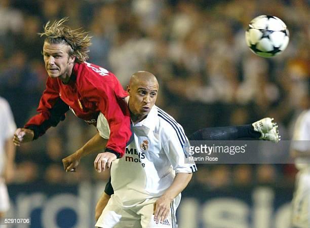 Champions League 02/03 Viertelfinale Madrid Real Madrid Manchester United 31 David BECKHAM/Manchester Roberto CARLOS/Real Madrid