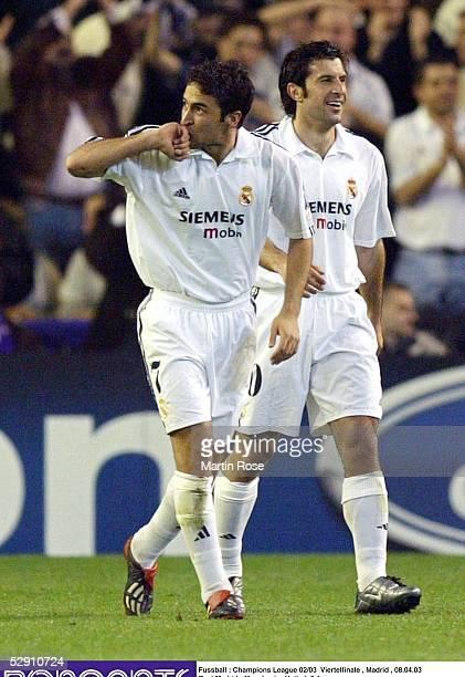 Champions League 02/03 Viertelfinale Madrid Real Madrid Manchester United 31 RAUL Luis FIGO/Madrid