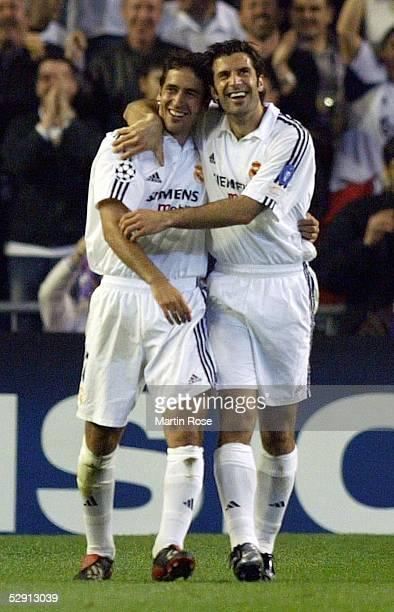 Champions League 02/03 Viertelfinale Madrid Real Madrid Manchester United 31 RAUL Luis FIGO/Real Madrid