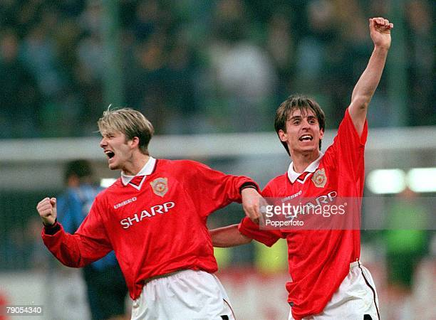Champions League 17th March 1999 San Siro Stadium Milan Italy Quarter Final Second Leg Inter Milan 1 v Manchester United 1 Manchester United's David...