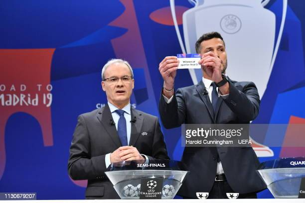 Champions League ambassador Julio Cesar draws out the card of 'Winners of quarterfinal 3' during the UEFA Champions League 2018/19 Quarterfinal...