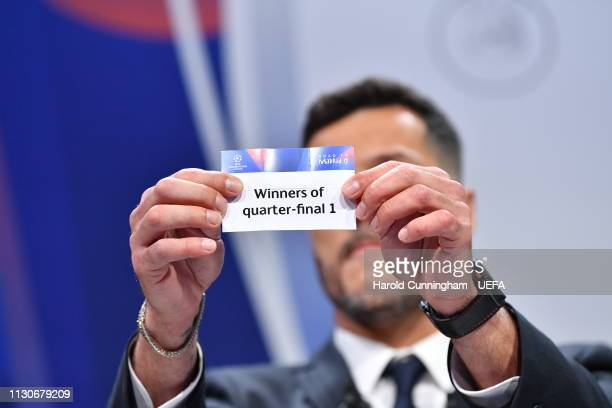 Champions League ambassador Julio Cesar draws out the card of 'Winners of quarterfinal 1' during the UEFA Champions League 2018/19 Quarterfinal...