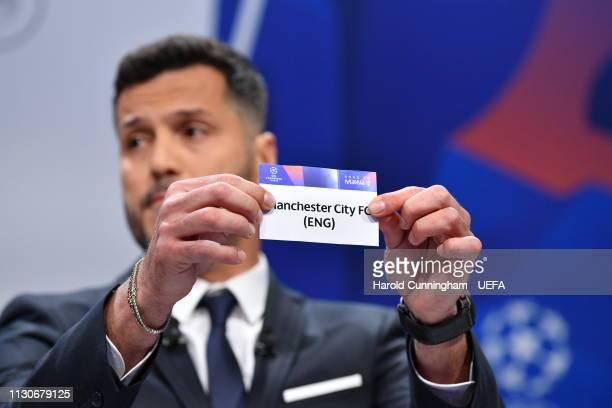 Champions League ambassador Julio Cesar draws out the name of Manchester City during the UEFA Champions League 2018/19 Quarterfinal Semifinal and...