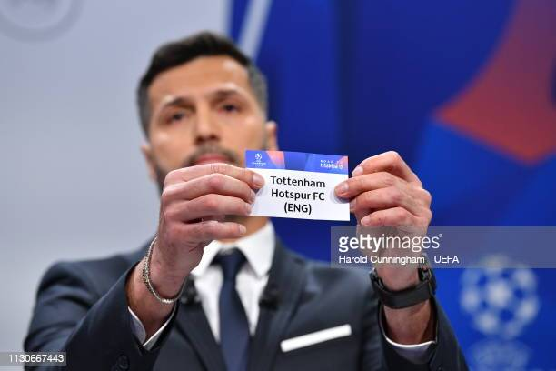 Champions League ambassador Julio Cesar draws out the name of Tottenham during the UEFA Champions League 2018/19 Quarterfinal Semifinal and Final...