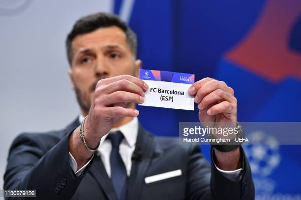 Champions League ambassador Julio Cesar draws out the name of Barcelona during the UEFA Champions League 2018/19 Quarterfinal Semifinal and Final...