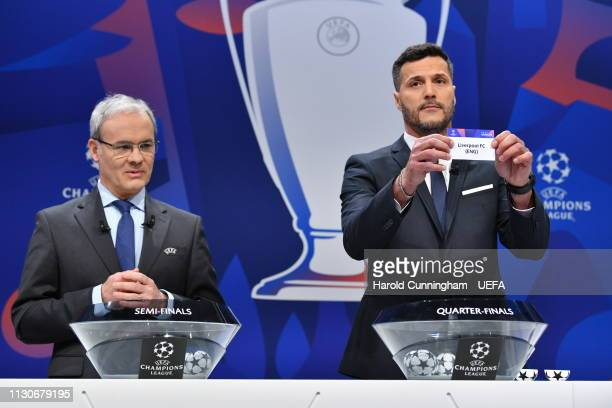 Champions League ambassador Julio Cesar draws out the name of Liverpool during the UEFA Champions League 2018/19 Quarterfinal Semifinal and Final...