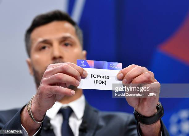 Champions League ambassador Julio Cesar draws out the name of Porto during the UEFA Champions League 2018/19 Quarterfinal Semifinal and Final draws...