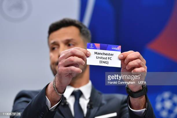 Champions League ambassador Julio Cesar draws out the name of Manchester United during the UEFA Champions League 2018/19 Quarterfinal Semifinal and...