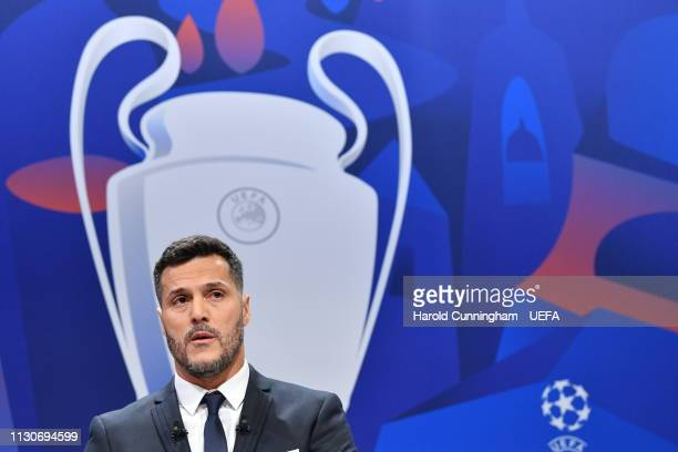 Champions League ambassador Julio Cesar on stage during the UEFA Champions League 2018/19 Quarterfinal Semifinal and Final draws at the UEFA...