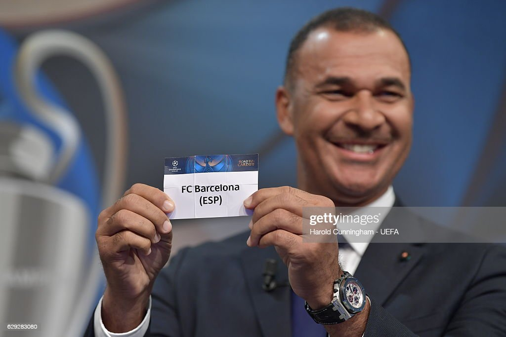 Champions League Ambassador Ruud Gullit draws out the name of Barcelona during the UEFA Champions League 2016/17 Round of 16 Draw at the UEFA headquarters, The House of European Football on December 12, 2016 in Nyon, Switzerland.