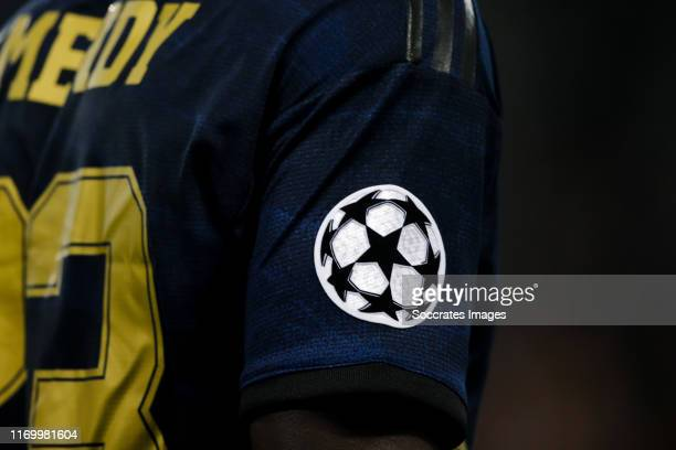 Champions League badge on shirt from Real Madrid during the UEFA Champions League match between Paris Saint Germain v Real Madrid at the Parc des...