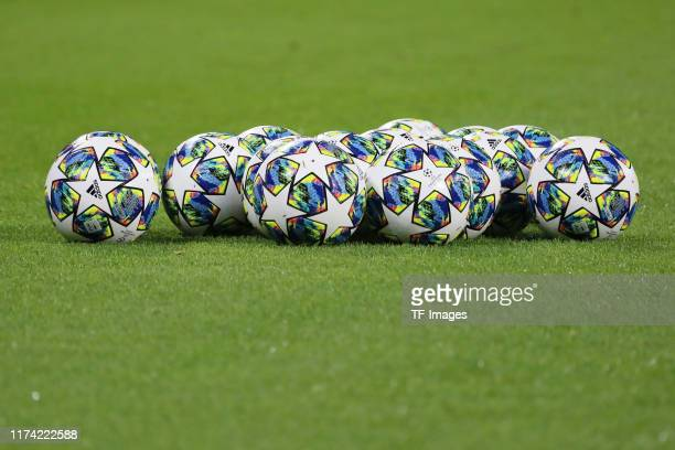 Champions League balls are seen during the UEFA Champions League group G match between RB Leipzig and Olympique Lyon at Red Bull Arena on October 2...