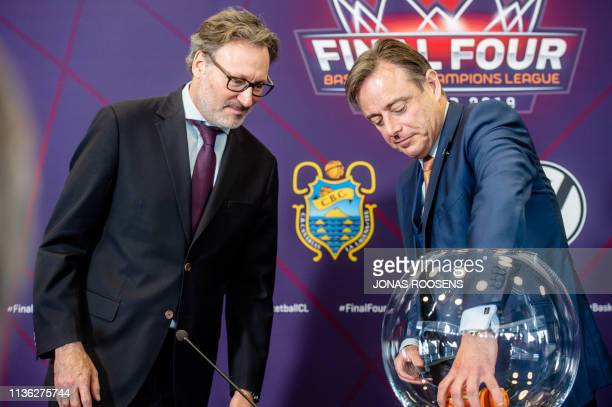 Champions League CEO Patrick Comninos and Antwerp Mayor Bart De Wever pictured during a press conference to draw a schedule for the 'Final Four'...