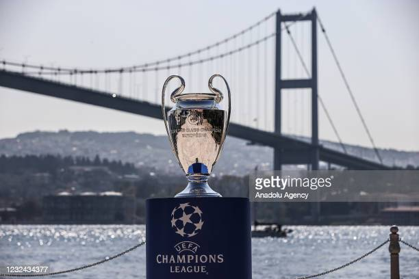Champions League Cup being displayed at Esma Sultan Mansion after it was brought to Istanbul by sponsors Pepsi and Ruffles before the UEFA Champions...