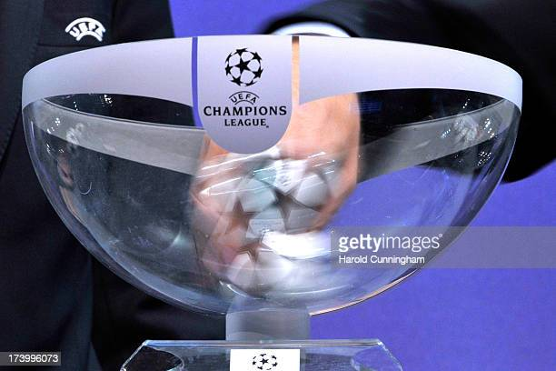 Champions League draw balls are shuffled during the UEFA Champions League Q3 qualifying round draw rehearsal on July 19 2013 in Nyon Switzerland