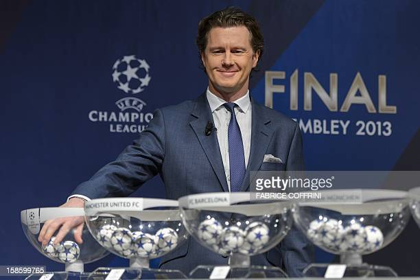 Champions League final ambassador Britain's Steve McManaman attends the draw for the last 16 of the UEFA Champions League on December 20 2012 at the...