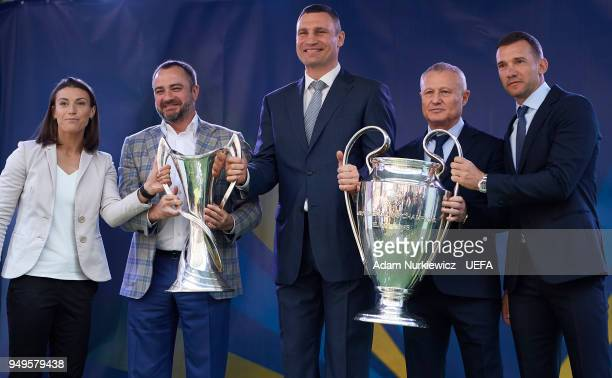 UEFA Champions League final ambassador Iya Andrushchak and Andriy Pavelko president of the Football Federation of Ukraine and Kyiv Mayor Vitali...