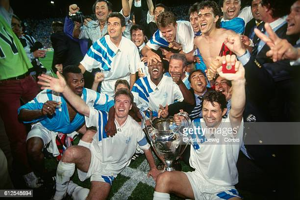 Champions League Final Olympique de Marseille vs AC Milan Marseille won 10 Marseille's players celebrate victory with the trophy