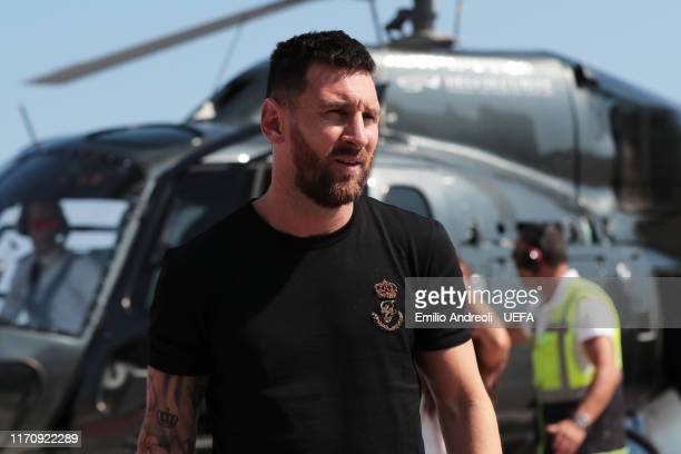 Champions League Forward of the Season 2018/19 Nominee Lionel Messi of FC Barcelona arrives on a helipad prior to the UEFA European Club Football...
