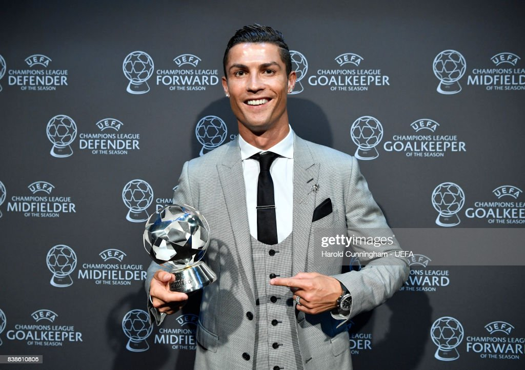 Champions League Forward of the Season Award nominee Cristiano Ronaldo with his award during the UEFA Champions League 2016/17 Group Stage Draw part of the UEFA ECF Season Kick Off 2017/18 on August 24, 2017 in Monaco, Monaco.