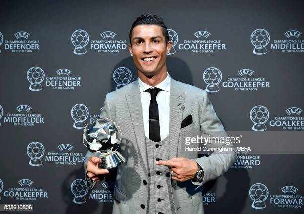 Champions League Forward of the Season Award nominee Cristiano Ronaldo with his award during the UEFA Champions League 2016/17 Group Stage Draw part...