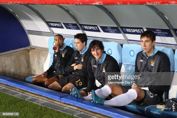 Champions League Group A Napoli v Manchester City Stadio San Paolo Manchester City's Gael Clichy Samir Nasri Stefan Savic and Costel Pantilimon on...