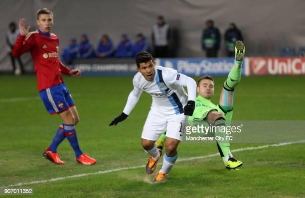 Champions League Group D CSKA Moscow v Manchester City Arena Khimki Manchester City's Sergio Aguero scores past CSKA Moscow goalkeeper Igor Akinfeev