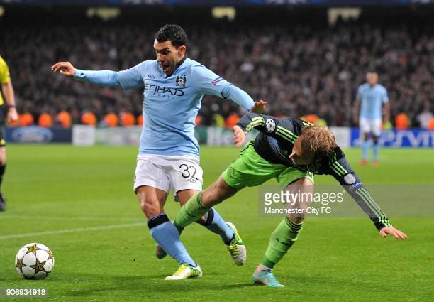 Champions League Group D Manchester City v Ajax Etihad Stadium Ajax's Christian Eriksen and Manchester City's Carlos Tevez battle for the ball