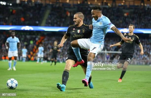 Champions League Group D Manchester City v Juventus Etihad Stadium Manchester City's Raheem Sterling and Juventus' Leonardo Bonucci