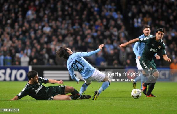 Champions League Group D Manchester City v Real Madrid Etihad Stadium Real Madrid's Xabi Alonso brings down Manchester City's David Silva