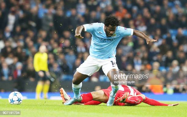 Champions League Group D Manchester City v Sevilla Etihad Stadium Manchester City's Wilfried Bony reacts after a challenge from Sevilla's Grzegorz...