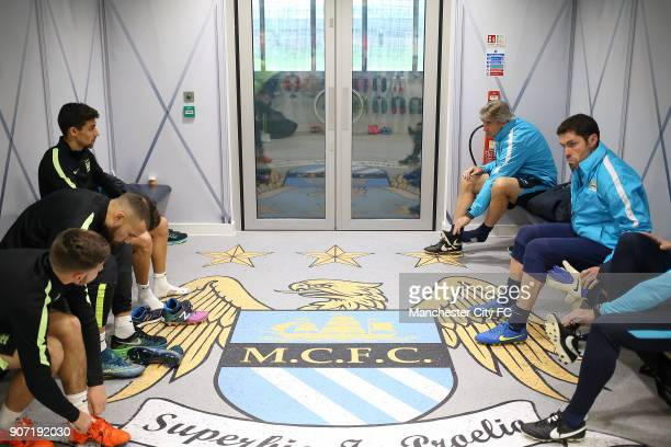Champions League Group D Manchester City v Sevilla Manchester City Training and Press Conference City Football Academy Manchester City played in the...