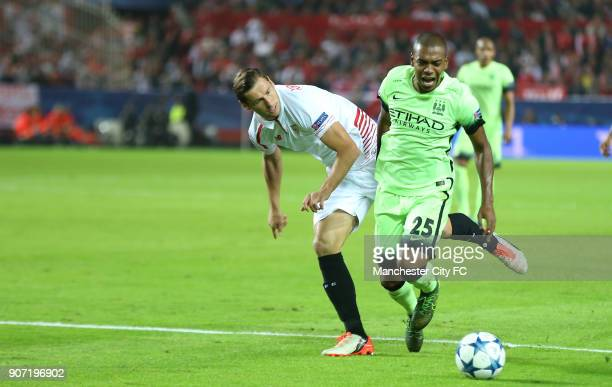 Champions League Group D Sevilla v Manchester City Ramon Sanchez Pizjuan Manchester City's Fernandinho and Sevilla's Grzegorz Krychowiak battle for...