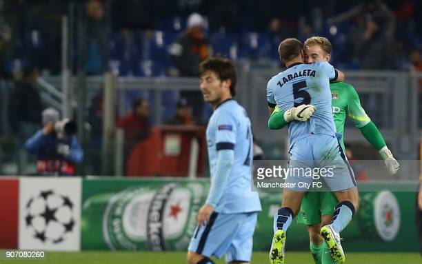 Champions League Group E AS Roma v Manchester City Stadio Olimpico Manchester City goalkeeper Joe Hart celebrates victory after the match with...