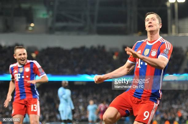 Champions League Group E Manchester City v Bayern Munich Bayern Munich's Rafinha and Robert Lewandowski celebrate their sides second goal