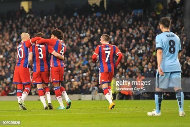 Champions League Group E Manchester City v Bayern Munich Bayern Munich's Arjen Robben Xabi Alonso Dante and Franck Ribery celebrate Alonso's...