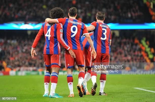 Champions League Group E Manchester City v Bayern Munich Bayern Munich's Dante Robert Lewandowski and Xabi Alonso celebrate their side's second goal