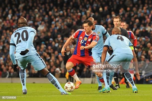Champions League Group E Manchester City v Bayern Munich Manchester City's Eliaquim Mangala Bayern Munich's Robert Lewandowski and Manchester City's...