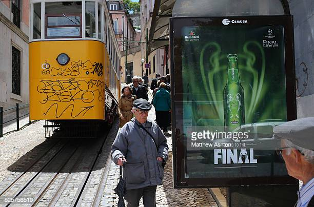 Champions League Heineken advertising and promotion by the Gloria Funicular / Elevador da Glora a funicular cable railway that links Baixa...