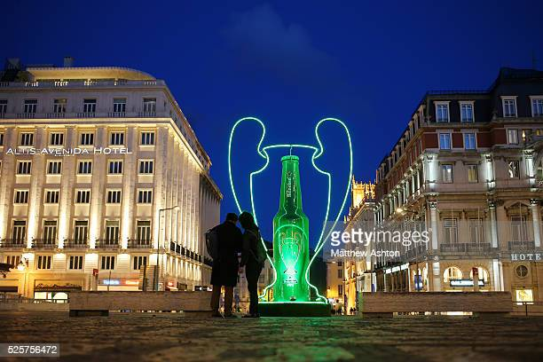 Champions League Heineken advertising and promotion in Restauradores Square Lisbon Portugal the host city for the 2014 Final as a bottle of beer is...