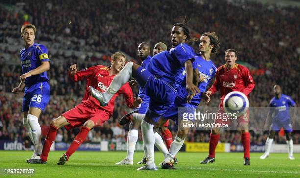 Champions League, Liverpool v Chelsea, Didier Drogba of Chelsea slices a Liverpool corner kick wide of his own goal.