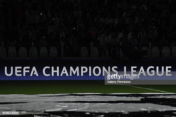 Champions League logo at The Juventus Stadium during the UEFA Champions League Group H match between Juventus FC and Sevilla FC at Juventus Stadium...