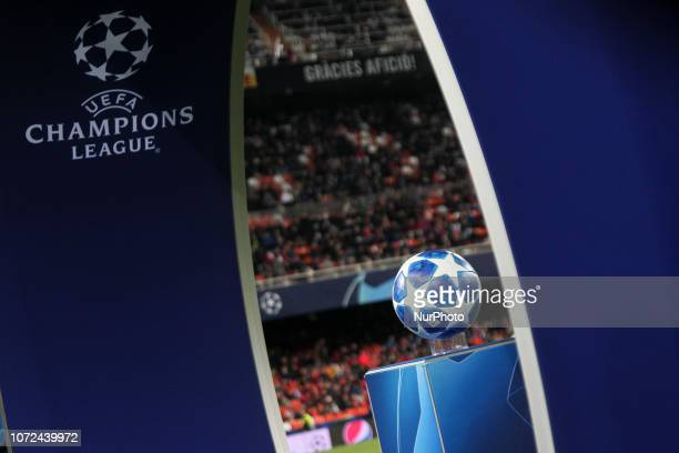 Champions League logo before UEFA Champions League Group H between Valencia CF and Manchester United at Mestalla stadium on December 12 2018