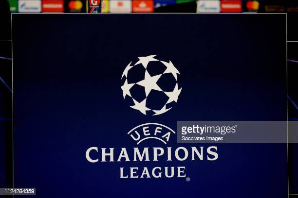 Champions League logo during the Training Ajax at the Sportpark De Toekomst on February 12 2019 in Amsterdam Netherlands