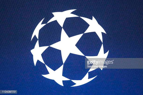 Champions League logo during the Training Real Madrid at the Johan Cruijff Arena on February 12 2019 in Amsterdam Netherlands