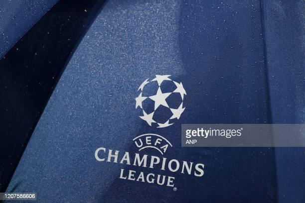 Champions League logo during the UEFA Champions League group A match between Real Madrid and Paris SaintGermain at the Santiago Bernabeu stadium on...
