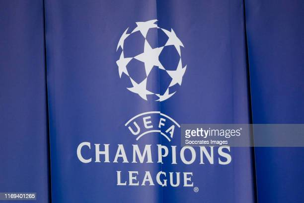 Champions League logo during the UEFA Champions League match between Paris Saint Germain v Real Madrid at the Parc des Princes on September 18 2019...